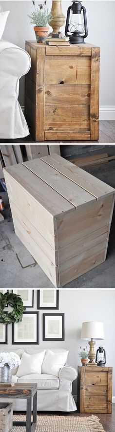 Check out the tutorial on how to make a #DIY crate side table #woodworking #rustic #homedecor @istandarddesign