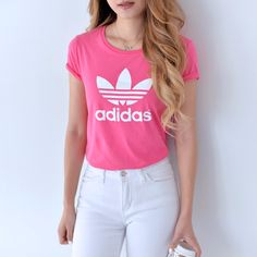 Adidas Pink Base Limited Logo Tee!! 100% Authentic from Adidas Originals wholesaler, as always. THIS TEE IS NOT FOUND IN NORTH AMERICA, please buy from your