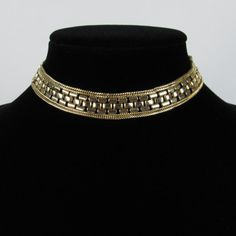Vintage Egyptian Revival Wide Gold Tone Collar Choker Necklace, Modernist Boho Wedding Necklace, Gold Tone Runway Statement Choker Necklace