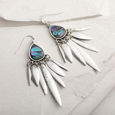 Silver Abalone Chandelier Earrings