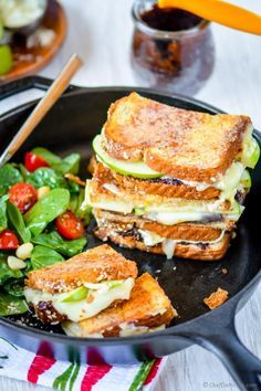 Homemade fig spread, tart granny smith apples, and buttery brie cheese sandwiched in two slices of parmesan crusted multi-grain bread! This, my friends, is a gourmet grilled cheese sandwich which y...