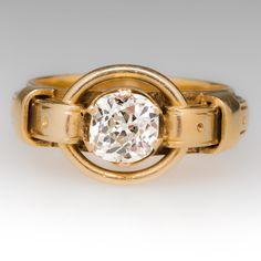 Victorian era old mine cut diamond buckle motif ring