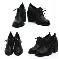 HANDMADE Goat Skin Round Toe Chunky High Heel Lace UP Oxfords| Danischoice.com