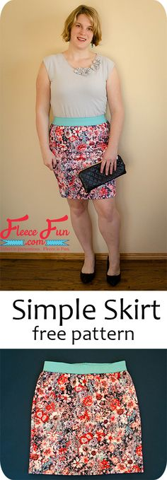 Easy Women's Skirt Sewing Tutorial You can make this easy simple skirt knit skirt! Comes with measurement chart to get the perfect fit. Great DIY idea for . Sewing Patterns Free, Free Sewing, Sewing Tutorials, Clothing Patterns, Dress Patterns, Knitting Patterns, Sewing Projects, Sewing Ideas, Fleece Projects