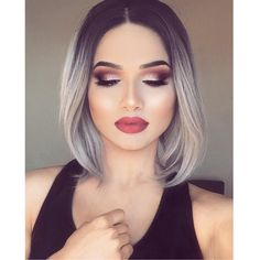 43.00$ Buy here - http://aliw8n.worldwells.pw/go.php?t=32754377791 - Silk Straight Ombre Natural Black to Grey Synthetic Lace Front Wig Heat Ressistant Human Bob Hair Short Bob Wigs For Black Women 43.00$