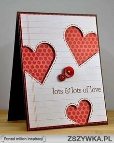 Lots of Love Card Design Paper Cards, Diy Cards, Valentine Day Cards, Holiday Cards, Diy Valentine, Tarjetas Diy, Scrapbooking Photo, Heart Cards, Love Cards