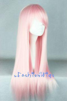 Princess Bubblegum Wig 70cm Long Pink Lolita Cosplay Wigs Anime Costume by uFashionWigs