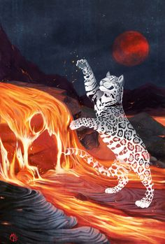 Commission for ! Her spirit jaguar Meztli Ometeotl, playing within the lava of an erupting volcano. The background was really good fun to draw actually, I tried to make an extra effort on it becaus...