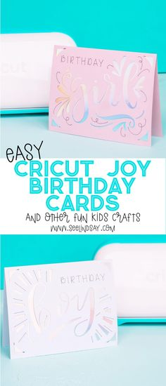 Creating easy Cricut Kids Crafts is a breeze using the new Cricut Joy. See how you can make cards within minutes that give you professional results. Kids Birthday Crafts, Fun Crafts For Kids, Crafts To Make, Creative Crafts, Cricut Birthday Cards, Simple Birthday Cards, Diy Projects For Beginners, Easy Craft Projects, Project Ideas