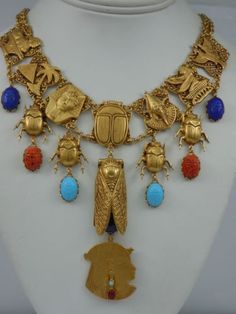 Askew London 'Egyptian Revival' Linked Scarab Drop Necklace