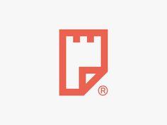 Filefort - Logo Design - Logomark, Mark, File, Paper, Fort, Castle Tower, Security, Secure, Minimal, Flat, Orange