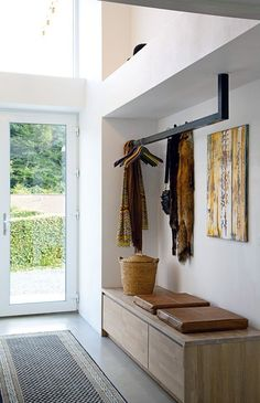 Ground floor entry hallway - suspended coat rack & built-in credenza/bench Entrance Design, House Entrance, Entrance Halls, Entrance Ideas, Diy Coat Rack, Entry Coat Rack, Hallway Coat Rack, Entry Hallway, Entry Bench