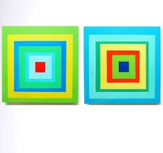 Etsy Transaction - SALE of the DAY - Large Original Modern Abstract Colorful Squares Painted on Wood Panels- by Rosemary Pierce