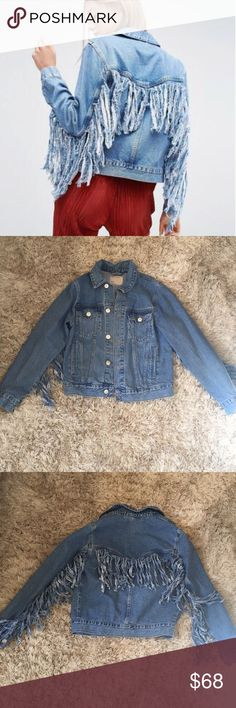 Denim fringe jacket💙 Denim fringe detail jacket💙size is a UK 6 which is a US 4 jacket fits S-M , if you are an XS you can also fit, however, jacket would be oversized. Additional details comment below item is in PERFECT CONDITION ASOS Jackets & Coats Jean Jackets