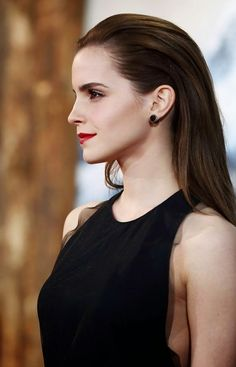 Emma Watson's Sleek 'do & classic red lip.
