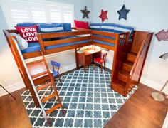 Shop the Penthouse - a corner loft bed with two beds up high, angled ladder and staircase entry. A grown-up take on loft beds for older kids! Free shipping in the Continental U.S.