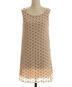 Look what I found on #zulily! Taupe & Black Lace Polka Dot Shift Dress #zulilyfinds