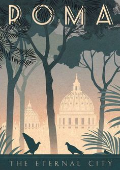 Retro Italy Travel Inspiration - Rome Art Deco Poster Print Vintage Italy Vatican City Retro Vogue Cityscape Travel Holiday Romantic Bahaus Roma - Vintage style art print - designed by Kate Sampson Rome themed, featuring St Peters dome, pine trees Vintage Italy, Italia Vintage, Vintage Art, Vintage Vogue, Retro Art, Vintage Ideas, Style Vintage, Etsy Vintage, Art Deco Posters