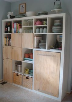 "love this for a small kitchen - I have tons of stuff I want to ""hide"" but would like shelves too! Use a Expedit shelf from IKEA as kitchen storage and counter - IKEA Hackers Ikea Hackers, Kallax Shelving, Expedit Bookcase, Ikea Expedit, Expedit Regal, Ikea Ikea, Kallax 5x5, Kallax Hack, Kitchen Storage"