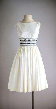 1950s OCEANLINER smocked sun dress