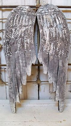 Large wooden angel wings wall sculpture gray by AnitaSperoDesign, $220.00