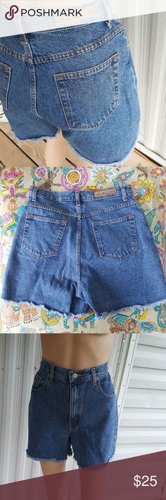 8 Vintage bill blass high waist shorts Vintage Bill Blass high waist jean shorts with cut off bottoms. Excellent used condition. Basically like new. I had to clip them on the mannequin so they would fit which distorts the shaping in a little bit. bill blass Shorts