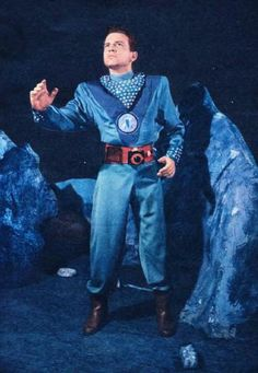 The only known color photo of the Space Cadet uniform, as exhibited by Frankie Thomas as Tom Corbett.
