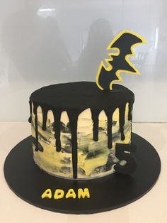 Batman cake easy Buttercream cake with black chocolate drip and fondant batanam