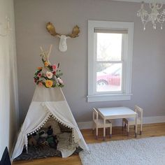 Our faux moose heads look great in a baby nursery!