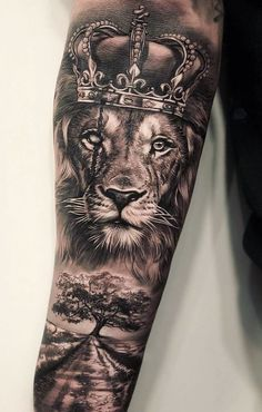 50 Eye-Catching Lion Tattoos That'll Make You Want To Get Inked – tattoo sleeve men Lion Forearm Tattoos, Tattoos Arm Mann, Lion Head Tattoos, Mens Lion Tattoo, Forarm Tattoos, Lion Arm Tattoo, Lion Tattoos For Men, Men Arm Tattoos, Lion Woman Tattoo