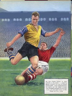 February Leeds United centre forward John Charles tackled by Liverpool full back Ronnie Moran, at Anfield. Classic Football Shirts, Retro Football, Vintage Football, Football Soccer, Football Players, The Damned United, Leeds United Football, English Football League, Soccer Logo