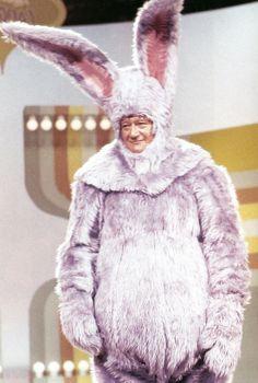 John Wayne in a rabbit suit guesting on Rowan & Martin's Laugh in