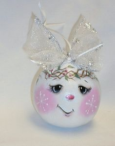 Snowman Egg Gourd Tree Ornament Hand Painted Gourd by FromGramsHouse