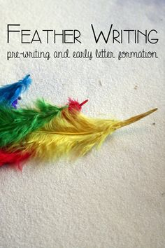 Help children to develop good writing skills with this fun feather writing activity, use real or fake feather sand write in the salt or sand tray with shapes that make letters or letters that they knew then erase them and start again.  read all  of Feather Writing – #playfulpreschool
