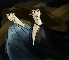 Fëanor and Finwë in Mandos. By Idahlart