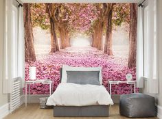 Yonder Wallpaper Mural feature wall of a magical woodland forest full of pink blossom for a princess bedroom Bedroom Green, Dream Bedroom, Bedroom Murals, Bedroom Decor, Wall Murals, Bedroom Ideas, Beds For Small Rooms, Powder Room Decor, Wall Wallpaper
