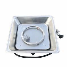 Square Fire Pit Burner with Pan Stainless Steel - Silver (Silver)