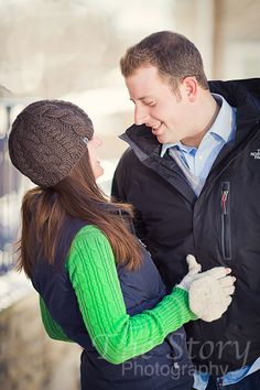 Winter engagement photo.