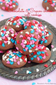 Cream cheese soft cookies with just a touch of chocolate. Cover in Valentine's day sprinkles for a sweet treat to give to your loved one(s)