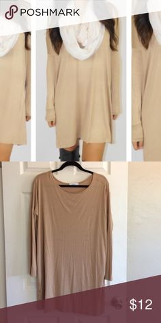 Beige tunic Beige tunic, great for layering! I own this specific tunic in many Colors and never reached for this nude/beige. Super comfortable, oversized in the body but fitted in the arms. Tops Tunics