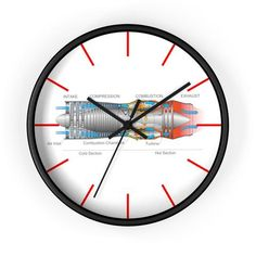 Jet Engine Cut Away Wall clock Potato Candy, Jet Engine, Wooden Frames, Engineering, Clock, Wall, Watch, Wood Frames, Clocks