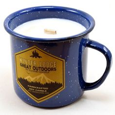Winter Lodge, Wood Wick Soy Candle in Enamel Camping Mug, Wood Wick Candles, Soy Candles, Winter Lodge, Camping In North Carolina, Baby Shower Winter, Soy Wax Melts, Tea Lights, Wicked, Tea Cups