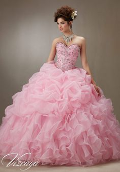 Quinceanera dresses by Vizcaya Ruched Organza Skirt with Beaded Bodice Matching Bolero Jacket included. Colors: Pink, Light Aqua, Coral, White.