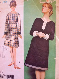 Vintage Butterick 3288 Sewing Pattern, Mary Quant Dress, 1960s Dress Pattern, Bust 32, Young Designers, 1960s Sewing Pattern, Vintage Sewing