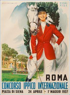 Concorso Ippico Internazionale 1957, Roma Piazza di Siena manifesto #posters #vintage #italy www.posterimage.it