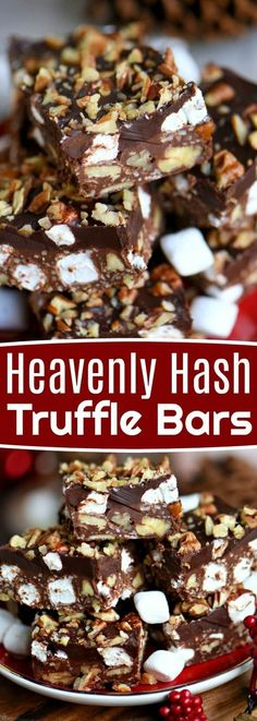 Heavenly Hash Truffle Bars are loaded with coconut, pecans, marshmallows and chocolate and topped with a decadent ganache. This incredibly easy treat comes together in minutes and is sure to impress the chocolate lover in your life! // Mom On Timeout Mini Desserts, Christmas Desserts, Easy Desserts, Delicious Desserts, Oreo Dessert, Dessert Bars, Truffle Dessert, Truffle Cake, Holiday Baking