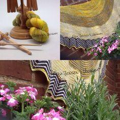 Lækkert tørklæde strikket i Unikummets Håndfarvede Luksus Lace