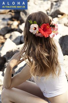 Hibiscus flower crown | Beauty looks sponsored by the Aloha movie, in theaters May 29th.