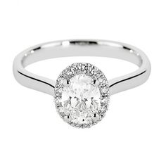 Platinum Oval Cut Diamond & Pav├® Surround Engagement Ring 2184-DS04 From Berry's Jewellers
