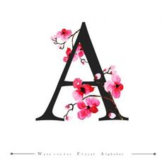 watercolor, color, painted, floral, leaves, leaf, flowers, design, character, typography, font, alphabet, text, spring, black, white, letter, word, abc, typo, type, typographic, logo, background, wallpaper, backdrop, beautiful, elegant, bright,